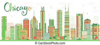 color, resumen, contorno, edificios., chicago