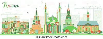 color, resumen, contorno, edificios., kazan