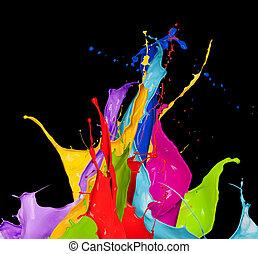 color, resumen, negro, salpicaduras, plano de fondo