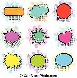 Color retro comic speech bubbles with stripes