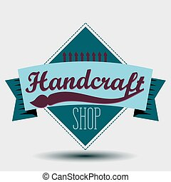 Color retro design insignias logotypes set. Handcraft arts and handmade illustrations. Vector vintage elements.