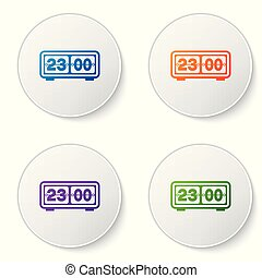 Color Retro flip clock icon isolated on white background. Wall flap clock, number counter template, all digits with flips. Set color icon in circle buttons. Vector Illustration