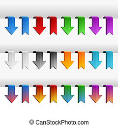 Color Ribbons and Arrows Set, Vector