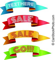 Color ribbons with text vector collection. Template for a text. Banners collection isolated on white