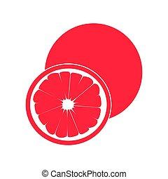 color, rosa, slice., aislado, redondo, círculo, fondo., coloreado, jugoso, realista, toronja blanca