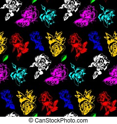 Color roses on a black background