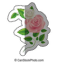 color roses with squere petals and leaves icon, vector ...