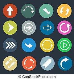 Color round arrow vector icons