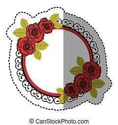 color round emblem with oval roses icon