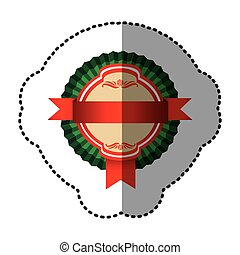 color round emblem with ribbon icon