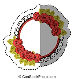 color round emblem with roses icon