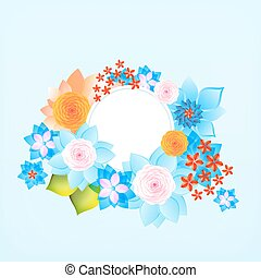 Color round frame with flowers