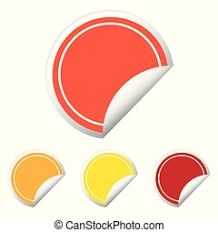 Color round stickers with curled edge vector template isolated on white background.