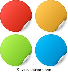 Color round stickers with curled edge vector template
