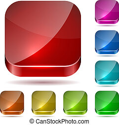 Color rounded square glass buttons vector set isolated on...