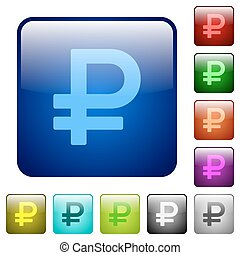 Color ruble sign square buttons