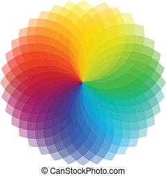 color, rueda, vector, ilustración, fondo.