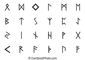 color, runes, cartas, símbolo, escandinavia, negro, conjunto