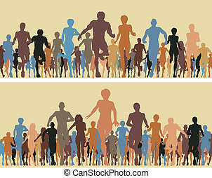 Color runners - Colorful editable vector silhouettes of many...