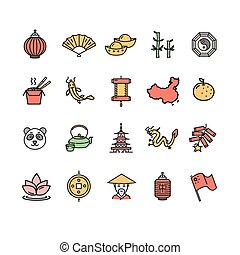 color, símbolo, vector, china, línea fina, set., icono