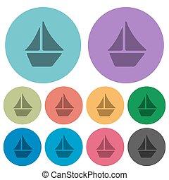 Color sailboat flat icons