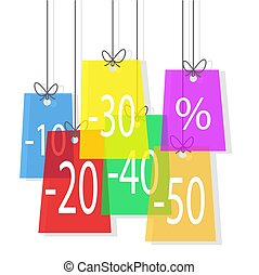Color sale offer tags hanging on the rope; stock vector illustration