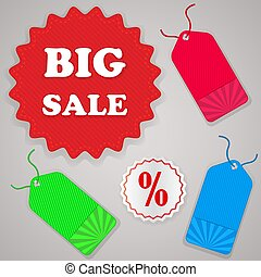 Color sale tags vector set isolated on gray background.