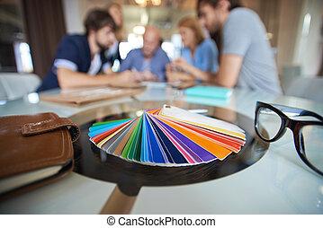 Color samplers - Samplers of colors on background of several...