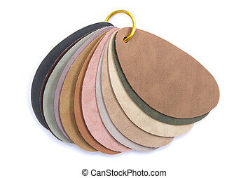 color samples of leather isolated on white background