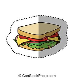 color sandwich fast food icon
