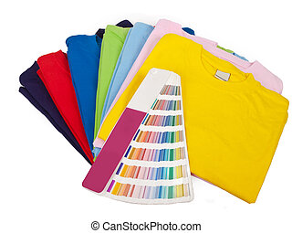 Color scale and t shirts - color chart and seven blank...