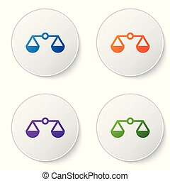 Color Scales of justice icon isolated on white background. Court of law symbol. Balance scale sign. Set color icon in circle buttons. Vector Illustration