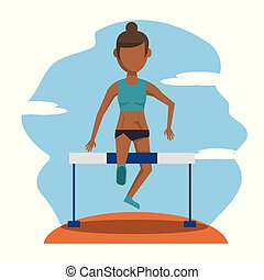 color scene with faceless brunette athlete woman