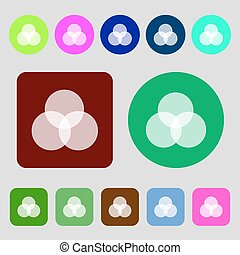 Color scheme icon sign. 12 colored buttons. Flat design. Vector