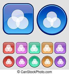 Color scheme icon sign. A set of twelve vintage buttons for your design. Vector