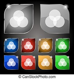 Color scheme icon sign. Set of ten colorful buttons with glare. Vector