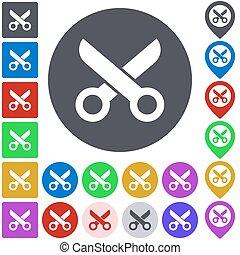Color scissor icon set