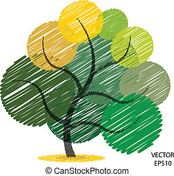 Color scribble tree symbol, tree icon, business icon, texts box, vector illustration