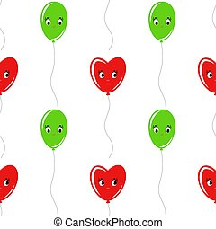 Color seamless pattern of balloons cartoon. Simple flat illustration on white background