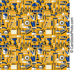 Color seamless pattern of building tools, flat style.