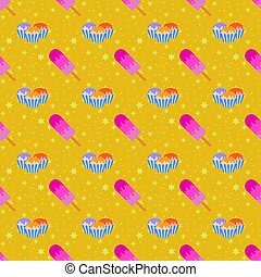 Color seamless pattern of delicious cakes and pink ice-cream with the icing. Simple flat illustration on an orange background with yellow stars