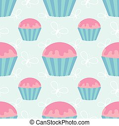 Color seamless pattern of delicious cupcakes on a blue background. Simple flat vector illustration. Suitable for Wallpaper, fabric, wrapping paper, covers.
