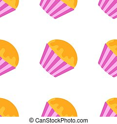 Color seamless pattern of delicious pink cakes with frosting. Simple flat illustration on white background