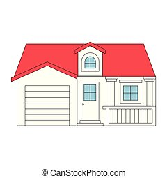 color sections silhouette facade house with garage and attic...