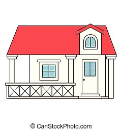 color sections silhouette facade house with railing and...