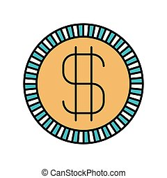 color sections silhouette of coin with money symbol