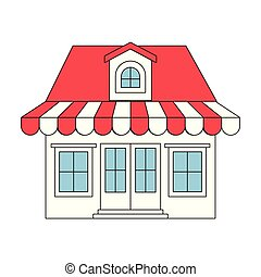 color sections silhouette of store with awning and attic...