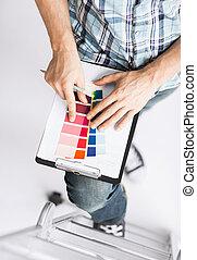 color, selección, muestras, hombre