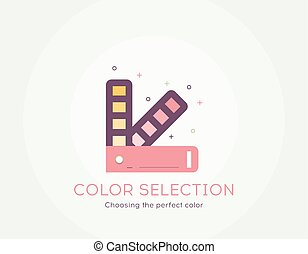 Color selection icon - Thin line flat design of choosing the perfect color process Flat modern color icons for printing industry and graphic design