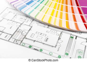 color selection - paint samples with house floor plan